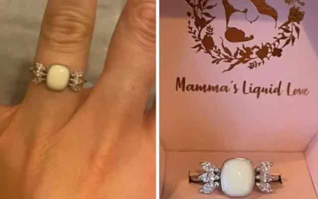 Wanita ini terima cincin diperbuat dari susu badannya sendiri daripada kekasihnya