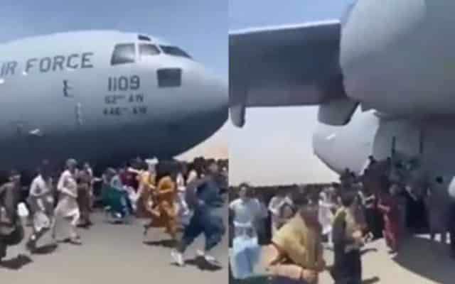 Cebisan mayat rakyat Afghanistan pada roda pesawat AS