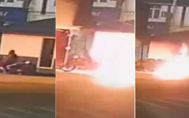 Tular video cctv dua lelaki bakar pondok polis