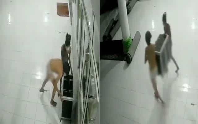 [Video] 2 lelaki berseluar dalam menyamar jadi toyol curi tabung masjid